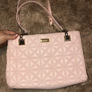 Baby Pink Quilted Leather Over the Shoulder Bag
